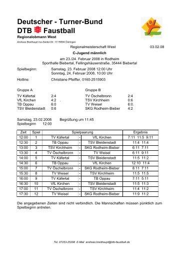 Deutscher - Turner-Bund DTB Faustball - VfL Kirchen
