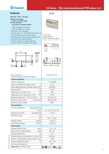34 Series - Slim electromechanical PCB relays 6 A Features - Finder