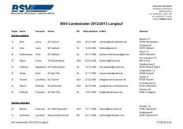 BSV-Landeskader 2012/2013 Langlauf - Bayerischer Skiverband