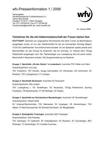 wfv-Presseinformation 1 / 2006 - Jugendfussball im Bezirk Donau