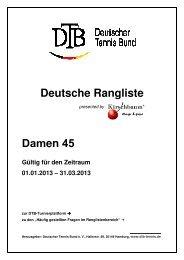 Deutsche Rangliste Damen 45 - Deutscher Tennis Bund