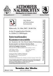 Mittwoch, 16. Mai 2007, 20.00 Uhr - Altdorf