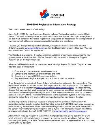 sessional (grassroots) swimmer registration form - Swim Ontario