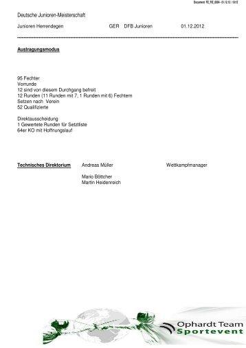 Deutsche Junioren-Meisterschaft - Deutscher Fechter-Bund eV