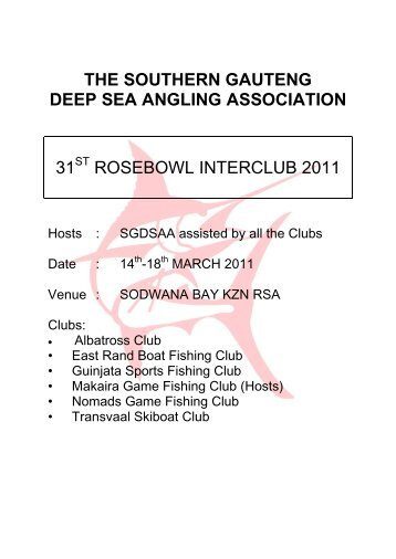 the southern gauteng deep sea angling association - Transvaal ...