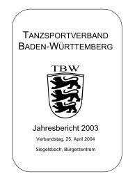 Bericht des Schriftführers - Tanzsportverband Baden-Württemberg