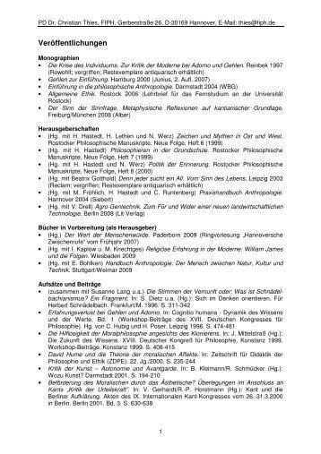 Veröffentlichungen - Forschungsinstitut für Philosophie Hannover
