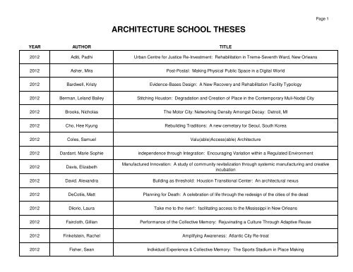Download Thesis Index - Tulane School of Architecture
