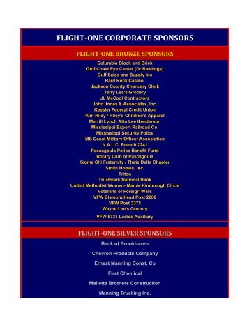 FLT-ONE CORP SPON-WEB-LIST.xlsx - Mississippi Gulf Coast ...