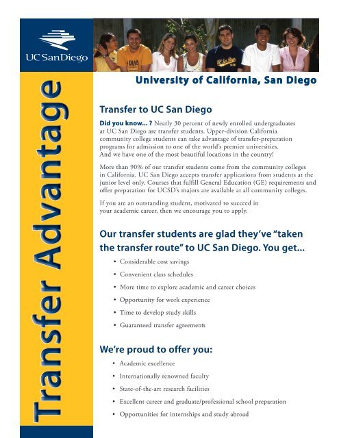 Uc San Diego Majors >> Transfer Advantage Brochure Undergraduate Admissions Uc