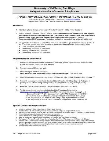 college ambassador application - UC San Diego