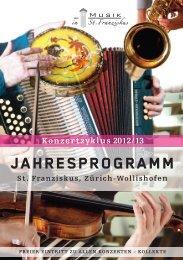 Generalprogramm 2012/2013 - Musik in St. Franziskus