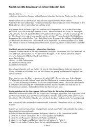 Predigt zum 325. Geburtstag von Johann Sebastian Bach