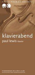 klavierabend - Meister & Kammerkonzerte