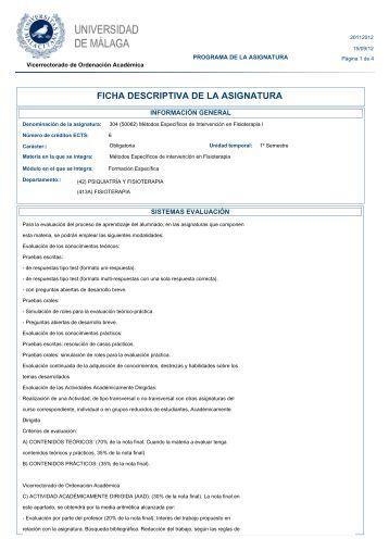 FICHA DESCRIPTIVA DE LA ASIGNATURA - Universidad de Málaga