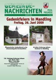 Gedenkfeiern in Mandling - Tourismusverband Pichl-Mandling