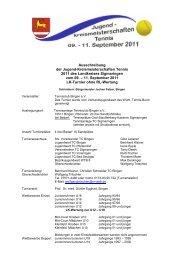 Ausschreibung der Jugend-Kreismeisterschaften Tennis 2011 des ...