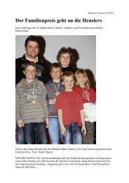 Der Familienpreis geht an die Henslers - Skiclub Hinterzarten