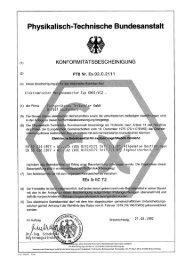 Konformitäts-bescheinigung PTB Nr. Ex-92.C.2111 - FTL Tritschler ...