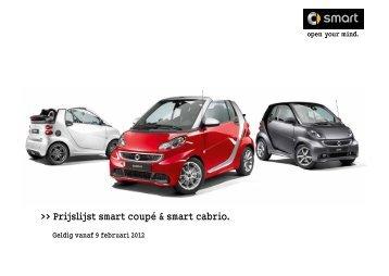 Prijslijst smart coupé & smart cabrio.