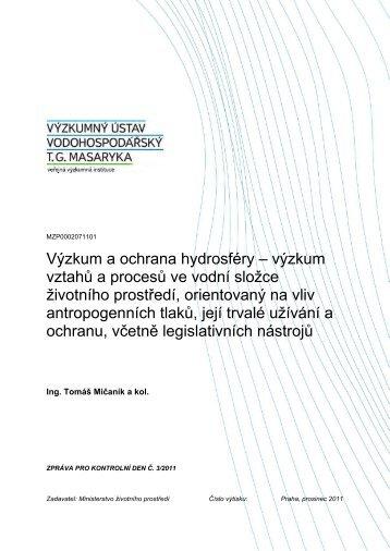 výzkum vztahů a procesů ve vodní složce životního prostředí ...