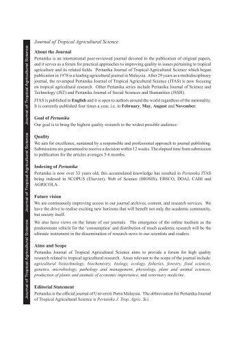 Pertanika Journal - Universiti Putra Malaysia