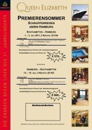 premierensommer schnupperreisen ab/bis hamburg southampton