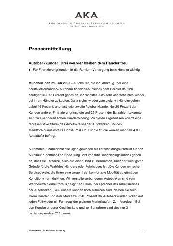 Pressemitteilung - Arbeitskreis der Autobanken