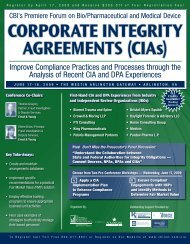 CorPorAtE IntEgrIty AgrEEmEnts (CIAs) - Crowell & Moring