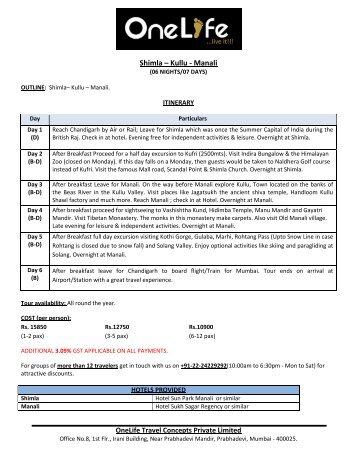 Shimla – Kullu - Manali - OneLife Travel Concepts Pvt. Ltd.