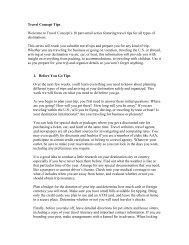 Travel Concept Tips Welcome to Travel Concept's 10 ... - Writecom.net