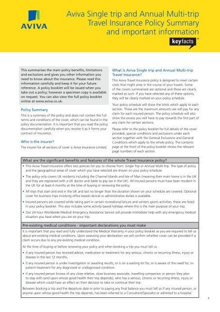 Aviva Single Trip And Annual Multi Trip Travel Insurance Policy