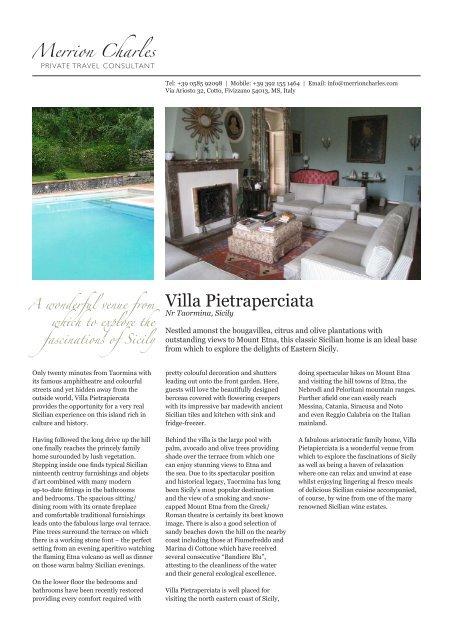 Villa Pietraperciata - Merrion Charles