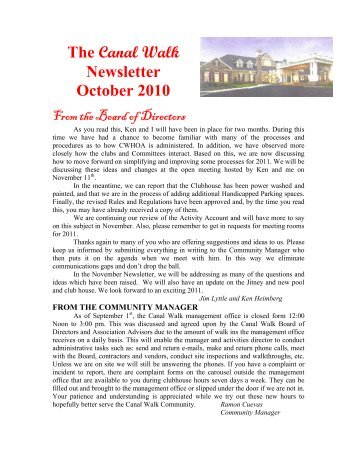 The Canal Walk Newsletter October 2010
