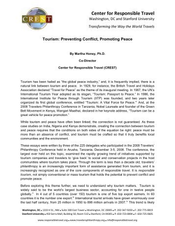 Preventing Conflict, Promoting Peace - Center for Responsible Travel