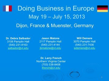 Doing Business in Europe - International Programs - Virginia Tech
