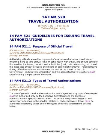 14 FAM 520 Travel Authorization - US Department of State