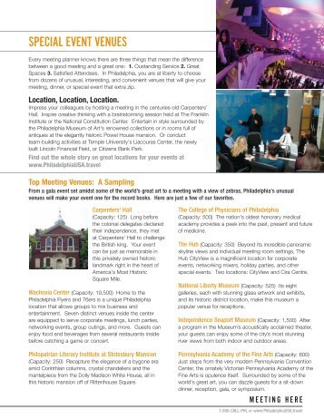 special event venues - Philadelphia Convention and Visitors Bureau