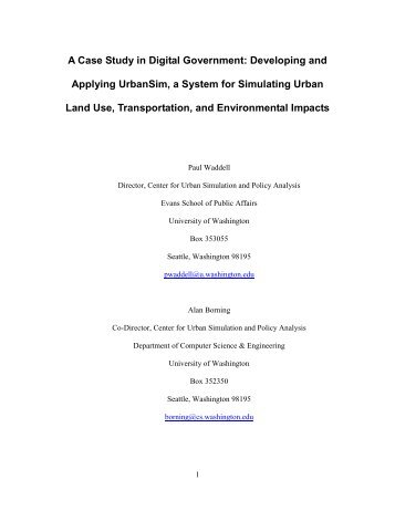 A Case Study in Digital Government: Developing and ... - UrbanSim