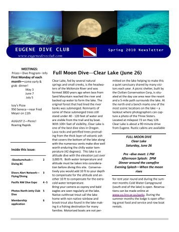 EUGENE DIVE CLUB Spring 2010 Newsletter - The Eugene Dive Club