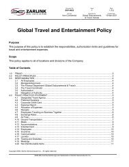 Global Travel and Entertainment Policy - Zarlink Semiconductor
