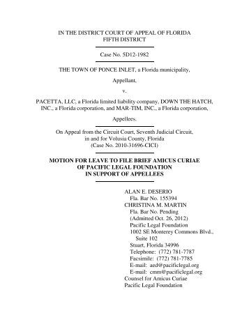 Motion to File Amicus Curiae Brief in Support of Pacetta