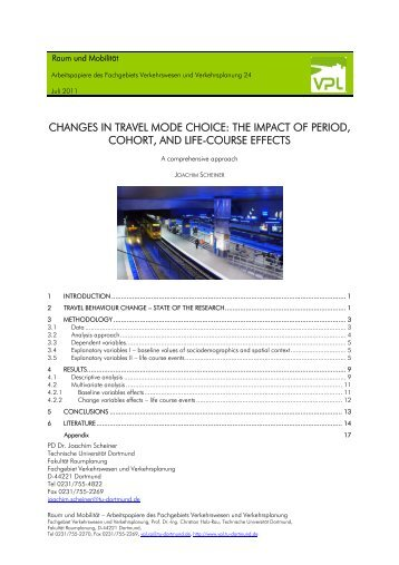 changes in travel mode choice: the impact of period, cohort, and life ...