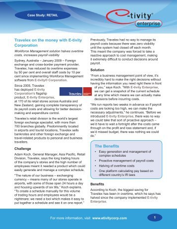 Travelex on the money with E-tivity Corporation The Benefits