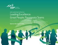 Leading Excellence: Great People, Passionate Teams - SSP