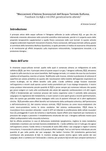 Meccanismi d'Azione Sconosciuti dell'Acqua Termale Sulfurea