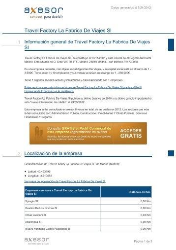 Travel Factory La Fabrica De Viajes Sl - Axesor
