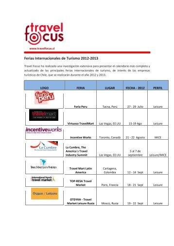 Ferias Internacionales de Turismo 2012-2013 - Travel Focus