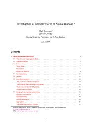 Investigation of Spatial Patterns of Animal Disease - EpiCentre ...