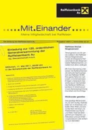 Einladung zur 120. ordentlichen ... - Raiffeisenbank Au